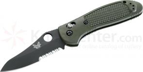 Benchmade 550SBKHGOD Griptilian 3.45 inch Black Combo Hollow Ground Blade, Olive Drab Noryl GTX Handles