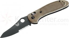 Benchmade 550SBKHGSN Griptilian 3.45 inch Black Combo Hollow Ground Blade, Sand Noryl GTX Handles
