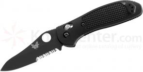Benchmade 550SBKHG Griptilian 3.45 inch Black Combo Hollow Ground Blade, Black Noryl GTX Handle