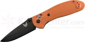 Benchmade 551BKORG Griptilian 3.45 inch Black Drop Point Plain Blade, Orange Handle