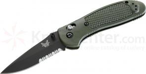 Benchmade 551SBKOD Griptilian 3.45 inch Black Drop Point Combo Blade, Olive Drab Handles