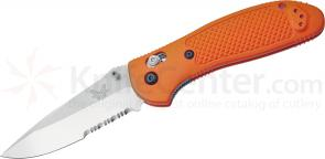 Benchmade 551SORG Griptilian 3.45 inch Satin Drop Point Combo Edge Blade, Orange Handle