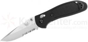 Benchmade 551S Griptilian 3.45 inch Satin Drop Point Combo Blade, Black Handles