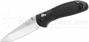 Benchmade 551 Griptilian 3.45 inch Satin Drop Point Plain Blade, Black Handles