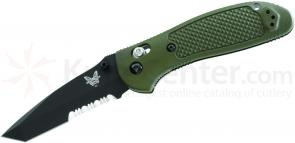 Benchmade 553SOD Tanto Griptilian 3.45 inch Satin Combo Blade, Olive Drab Handles