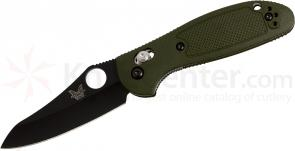 Benchmade 555BKHGOD Mini Griptilian AXIS Lock 2.8 inch Black Plain Blade, OD Green Handles