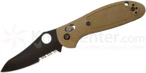Benchmade 555SBKHGSN Mini Griptilian AXIS Lock 2.8 inch Black Combo Blade, Sand Color Handles
