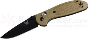 Benchmade 556BKSN Mini-Griptilian 2.91 inch Black Plain Blade, Sand Color Handles