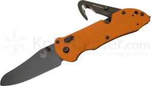 Benchmade 915BK-ORG Triage Rescue Knife 3.5 inch Black Plain Blade, Orange G10 Handles, Safety Cutter, Glass Breaker