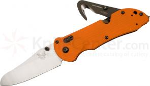 Benchmade 915-ORG Triage Rescue Knife 3.5 inch Satin Plain Blade, Orange G10 Handles, Safety Cutter, Glass Breaker