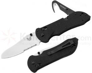 Benchmade 915S Triage Rescue Knife 3.5 inch Satin Combo Blade, Black G10 Handles, Safety Cutter, Glass Breaker