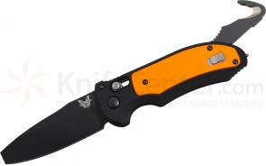 Benchmade 9160BK-ORG AUTO AXIS Triage Rescue Folder 3.35 inch Black Plain Blade, Aluminum with Orange G10 Inlays