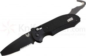 Benchmade 9160SBK AUTO AXIS Triage Rescue Folder 3.35 inch Black Combo Blade, Aluminum with Black G10 Inlays