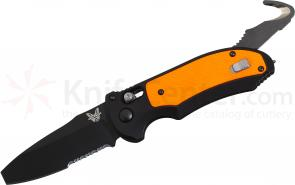 Benchmade 9160SBK-ORG AUTO AXIS Triage Rescue Folder 3.35 inch Black Combo Blade, Aluminum with Orange G10 Inlays