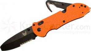 Benchmade 916SBK-ORG Triage Rescue Knife 3.5 inch Black Combo Blunt Tip Blade, Orange G10 Handles, Safety Cutter, Glass Breaker
