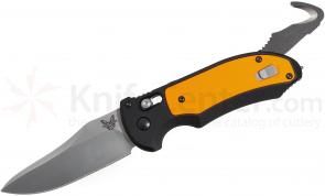 Benchmade 9170-ORG AUTO AXIS Triage Rescue Folder 3.58 inch Satin Plain Blade, Aluminum with Orange G10 Inlays