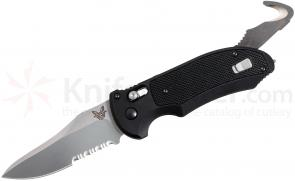 Benchmade 9170S AUTO AXIS Triage Rescue Folder 3.58 inch Satin Combo Blade, Aluminum with Black G10 Inlays