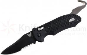 Benchmade 9170SBK AUTO AXIS Triage Rescue Folder 3.58 inch Black Combo Blade, Aluminum with Black G10 Inlays