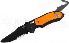 Benchmade 9170SBK-ORG AUTO AXIS Triage Rescue Folder 3.58 inch Black Combo Blade, Aluminum with Orange G10 Inlays