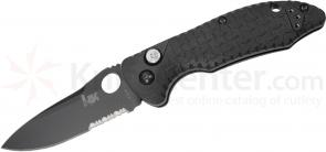 Benchmade Heckler & Koch 14411 Soldat Folding Knife 3.3 inch Black Combo Drop Point Blade, Grivory Handles