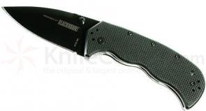 BLACKHAWK! Crucible II Black Folder, 3.2 inch Plain Edge Blade, G-10 Handle