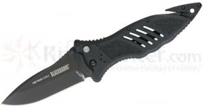 BLACKHAWK! CQD Mark I Type E Folding Knife 3.75 inch Plain Blade, Black Nylon Handles