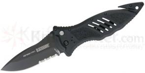 BLACKHAWK! CQD Mark 1 Type E Folding Knife 3.75 inch Combo Blade, Black Nylon Handles
