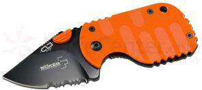 Boker Plus CLB Subcom Dusk 1-7/8 inch Black Combo Blade, Orange FRN Handle (O01BO576)