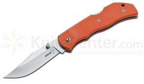 Boker Plus Optima Folding Knife Interchangeable 3-1/2 inch Drop Point Blade and Saw, Orange G10 Handles (01BO104)