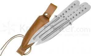 Boker Magnum Bailey Ziel Throwing 3 Knife Set 13-1/4 inch Overall, Leather Sheath (02MB164)
