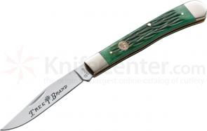 Boker Traditional Series Single Blade Trapper Jigged Green Bone Handles 4-1/4 inch Closed (110734)