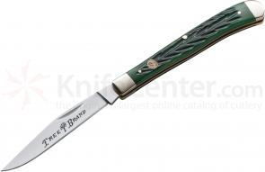 Boker Traditional Series Single Blade Slim Line Jigged Green Bone Handles 4 inch Closed (110735)