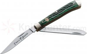 Boker Traditional Series Slim Line Trapper Jigged Green Bone Handles 4 inch Closed (110736)
