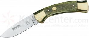 Boker Folding Hunter 3-3/8 inch Blade, Green Bone Handles (113000)