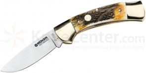 Boker Stag Hunter Folding Knife 3-1/4 inch Blade, Stag Handles 114000