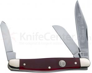 Boker 3 Blade Stockman 4 inch Closed, Red Bone Handles 117474SS