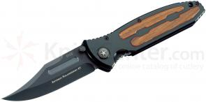 Boker Kalashnikov Folding Knife 4 inch Black Plain Blade, Aluminum Handles with Cocobolo Inlays