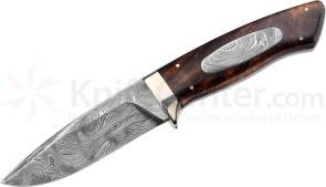 Boker Leo IV Custom Fixed 3-7/8 inch Damascus Steel Blade with 600 Layers