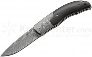 Boker Plus Damascus EDC Folder 3 inch Blade, Damascus and Ebony Wood Handles