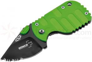 Boker Plus Subcom Zombie Series 1-7/8 inch Black Combo Blade, Toxic Green FRN Handle (01BO594)