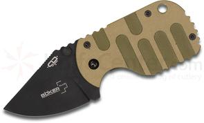 Boker Plus Subcom Folding Knife 1.875 inch Black Plain Blade, Desert and Green G10 Handle, KnifeCenter Exclusive