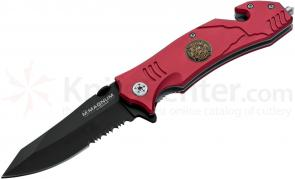 Boker Magnum Fire Fighter Rescue Folding Knife 3-2/5 inch Combo Blade, Red Aluminum Handles (01LL470)