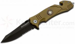 Boker Magnum Army Rescue Flipper 3-2/5 inch Black Combo Blade, Olive Aluminum Handles