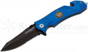 Boker Magnum Air Force Rescue Flipper 3-3/8 inch Black Combo Blade, Blue Aluminum Handles