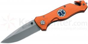 Boker Magnum Medic Rescue Folding Knife 3-3/8 inch Plain Blade, Orange Aluminum Handles