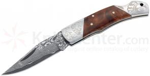 Boker Magnum Duke 2.5 inch Damascus Blade, Burl Wood Handles, Etched Bolsters (01MB946DAM)