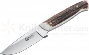 Boker Arbolito Stag Hunter Fixed 3-1/2 inch N695 Steel Blade, Stag Handles