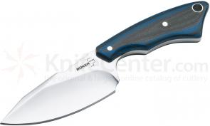 Boker Plus Rambler Fixed 2-3/4 inch Blade, Black and Blue G10 Handles, Leather Sheath (02BO182)