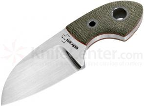 Boker Plus VoxKnives Gnome Neck Knife 2-1/8 inch Blade, Green Canvas Micarta Handles