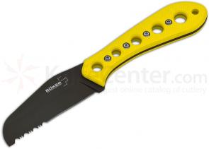 Boker Plus CK-1 Rescue Fixed 3-1/2 inch Round Tip Combo Blade, Yellow Zytel Handles